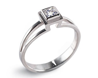 PRINCESS Engagement Ring, Solitaire Diamond Engagement Ring, Princess cut Square Diamond Ring, 14k White gold engagement ring