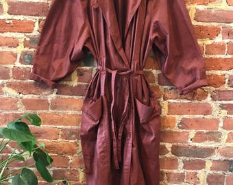 Wine / burgundy lightweight trench coat / sheer robe / chic 80s