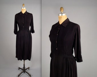 "1940s beautiful black day dress  • vintage 40s dress • ""R&K Originals"" pleated dress"