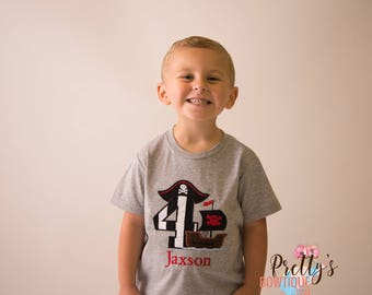 Boy Pirate Birthday Shirt-- Pirate Personalized with Name – Any age --