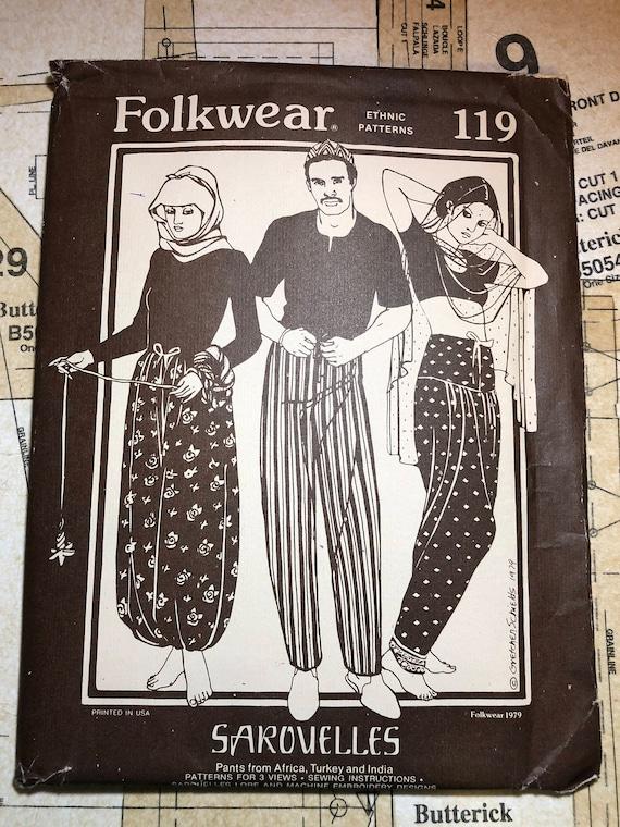 UNCUT Folkwear 119 Sarouelles Pants Sewing Pattern Turkish African ...