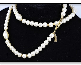 Faux Pearl with Gold Toned Spacers-Vintage Signed Marvella Necklace  Neck-5233-040618000k
