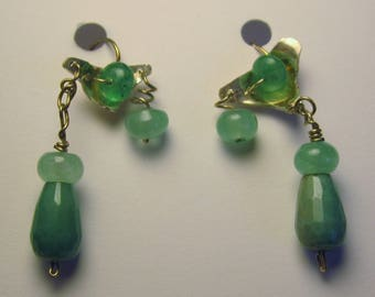 Sterling silver free form earwire with adveturine and green quartz drops