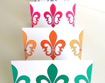 Fleur De Lis Note Cards - Louisiana Fleur Card - Stylized Lily Iris Note Cards, set of 8, symbol of France