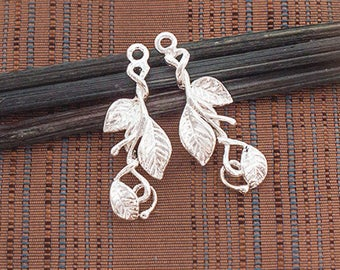 2 of 925 Sterling Silver  Leaf  Branch Charms 9x21 mm.  :th2585