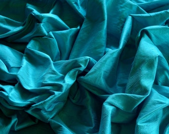 "Turquoise Blue Dupioni Silk, 100% Silk Fabric, 54"" Wide, By The Yard (S-188)"