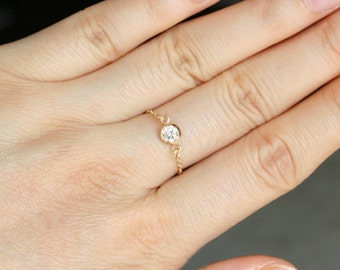 Tiny CZ Diamond Ring, Stackable Chain Ring With Cubic Zirconia Stone In 14K Gold Filled, Thin Stacking Ring, Midi Ring, Gift For Women Girls