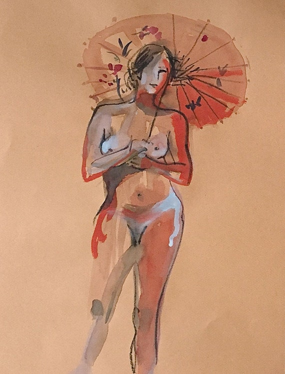 Nude #1538- original watercolor painting by Gretchen Kelly