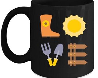 Gardening LOVE Gardening Gift, Christmas, Birthday Present for Gardening enthusiast Black Mug