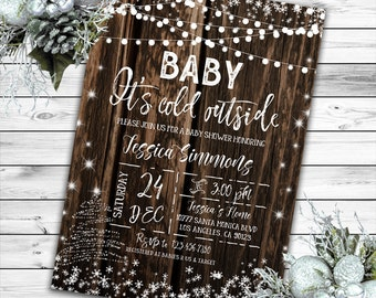 Baby its cold outside Invitation, Winter Baby Shower Invitation, Rustic Baby Shower Invitation, Gender Neutral Baby Shower, Printable Invite