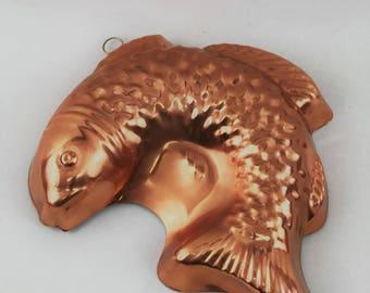 Vintage Copper Jumping Fish Jello Mold Wall Decor