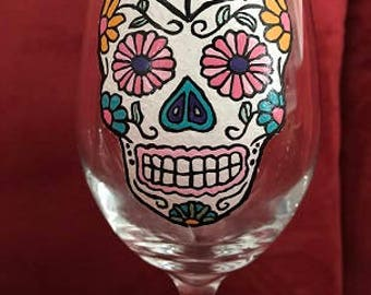 Sugar Skulls Spider Web Hand Painted Glasses