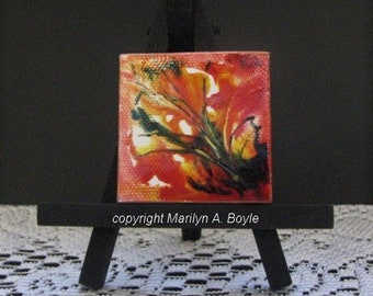 MINIATURE ABSTRACT PAINTING; Original painting, for doll house, shelf or desk, one of a kind,