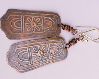 Flower Earrings, Patterned Copper Patina Earrings, Dangle Drop Earrings, Hammered Copper Earrings, Boho Gypsy Earrings, Rustic Earrings,