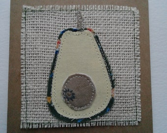 Original Textile Art Hand Made Avocado Greetings Card