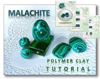Polymer clay Tutorial Fake Malachite