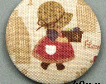 Sunbonnet Sue (40-10) - Sunbonnet - fabric covered button