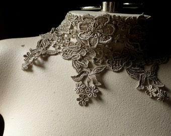 Taupe Lace Trim for Garments, Jewelry Design, Appliques, Costumes CL 5034 Taupe