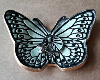 Ceramic Butterfly Ring Dish Pale Sea Foam edged in Gold