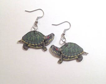 Handcrafted Plastic Red Ear Aquatic Turtle Earrings Gifts for Her