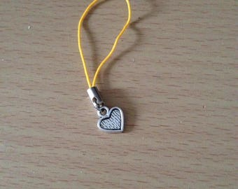 Heart zip charm, heart phone charm, heart bag charm, heart cell phone charm