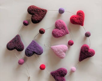 Needle Felted Hanging Decor or Garland, Free form Ombre Hearts