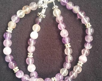 Amethyst and Sterling Silver double strand bracelet