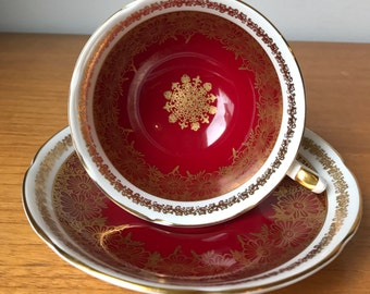 Royal Grafton Red Tea Cup and Saucer, Vintage Dark Red and Gold Medallion Teacup and Saucer, Regal Bone China
