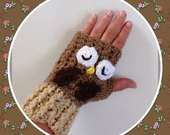 Fingerless Owl Gloves, Crochet Gloves, Fashion Gloves, Texting Gloves, Adult Gloves