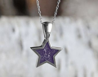 Purple Stardust Pendant Necklace, Sterling Silver Star Pendant Inlaid With Enamel And Meteorite Fillings on a Rope Chain Necklace