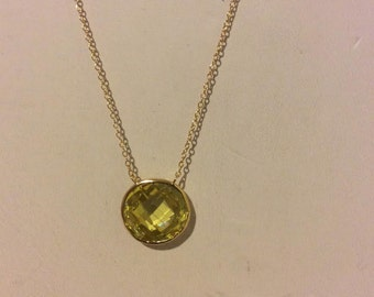 Gold coated sterling silver and lime faceted stone dainty drop circle necklace