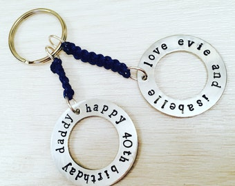handstamped keyring, hand stamped keyring, hand stamped jewellery, personalised, keyring, birthday, anniversary, mothers day, fathers day