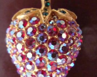 Vintage AB Rhinestone Strawberry Brooch - AB Red Rhinestones Strawberry Pin
