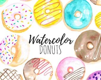 Watercolor Clip Art - Donut Clip Art - Food Clip Art Dessert Clip Art  Hand drawn for scrapbook and Commercial Use