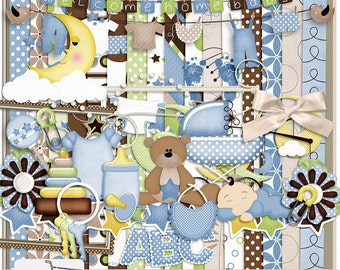Baby Love Boy Digital Scrapbook Kit