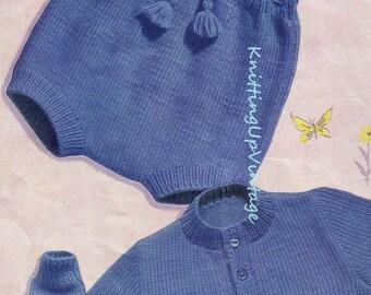 Baby Knitting Pattern pdf Romper & Cardigan Set