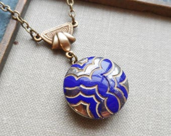 Art Deco, Vintage Glass Button Necklace- Royal Blue with Pewter and Tan Highlights, Antique Brass