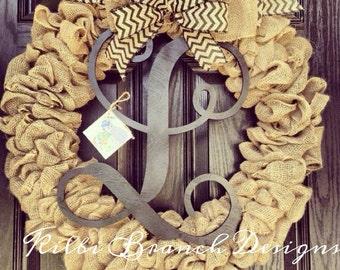 Large burlap wreath // black vine monogram // Burlap and black chevron bow