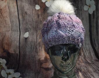 Lavender Purple Cable Hat Beanie