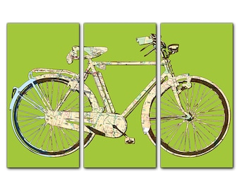 Los Angeles Street Map Bicycle Triptych Canvas Giclee - Lime