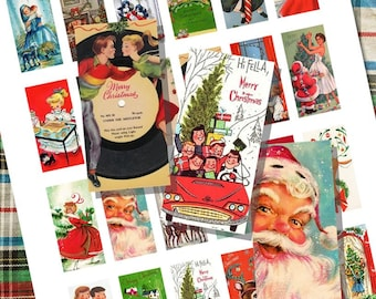 Christmas Cards Retro and Vintage Domino Tile Digital Collage Printable Sheet for Necklaces, Altered Art, Jewelry