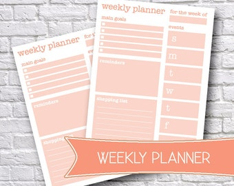 Printable Weekly Planner, Weekly Organizer, To-Do List, Printable Stationery, Weekly Planner, Weekly Journal, Printable Daily Planner