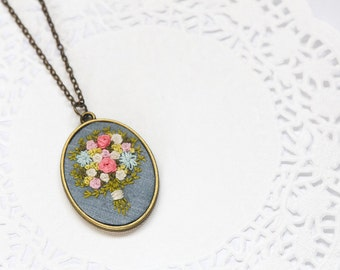 Hand Embroidered Floral Bouquet Necklace | Embroidered Statement Long Pendant Necklace | Colorful Flower Necklace Jewelry | Pink Gray Green