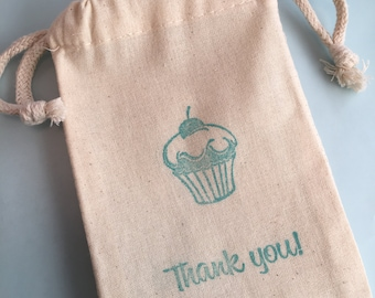 Cupcake Favor Bag with Thank You Slogan, Drawstring Muslin Bags, Cupcake Gift Bag, Tea Party Treat Bag