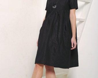 Linen dress Black linen dress Women's dress Black dress Midi dress Midi linen dress Casual linen dress Women's tunic Linen tunic Black linen