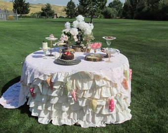Wedding Round Ruffled Tablecloth for Round Tables-Vintage and Shabby Ruffles, Vintage, Wedding & Event Decor
