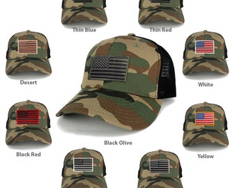 US American Flag Embroidered Iron on Patch Adjustable Camo Trucker Cap - wwb (1054-WWB)
