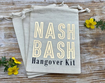 Nashville Bachelorette Party Hangover Kit Bags, Nash Bash hangover kit, nashlorette favor bags, gold bachelorette hangover bags