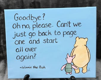 Classic Pooh Quote Canvas Painting Graduation Goodbye Moving Away Saying  Goodbye Remember Me Thinking Of You