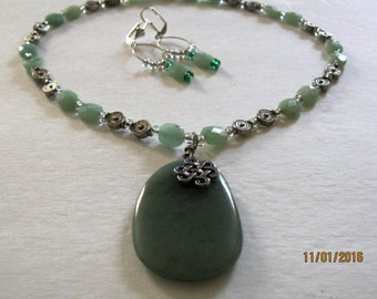 A183 - Large Jade Teardrop w/faceted jade and metal accent beads.  Magnetic clasp and earrings included.